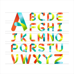 Ribbon alphabet  and colorful font.Capital letter A to Z