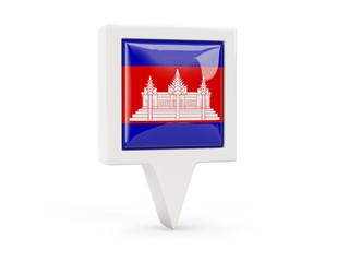 Square flag icon of cambodia