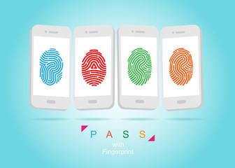 Pass with fingerprint. color vector illustration.