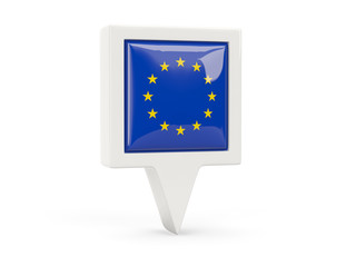 Square flag icon of european union