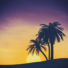 Tropical summer landscape with rising sun, abstract travel backg