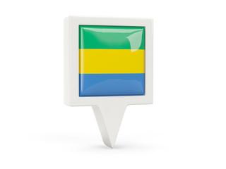 Square flag icon of gabon