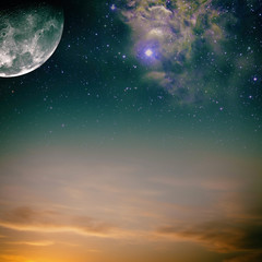 Night skies with moon, stars and nebula