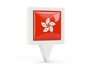 Square flag icon of hong kong