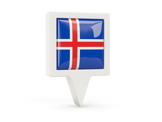 Square flag icon of iceland