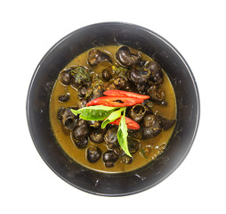 bowl of thai food- curry with pond snail