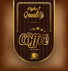 Premium coffee label over vintage background