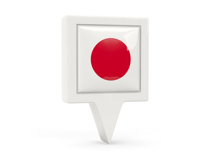 Square flag icon of japan