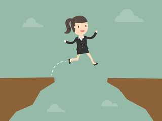 business woman jump through the gap