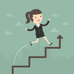 Business Woman run on a Business Growth Chart