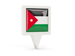 Square flag icon of jordan