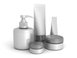 different cosmetic products on white background