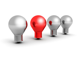 fresh idea concept red light bulb