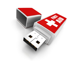 first aid usb flash drive on white background