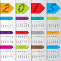 Arrow ribbon calendar for the year 2015