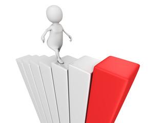 3d man stepping up on success bar chart