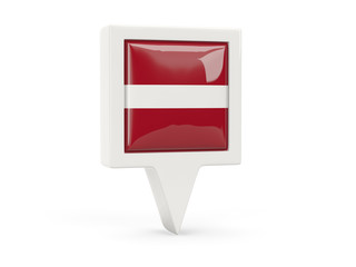 Square flag icon of latvia