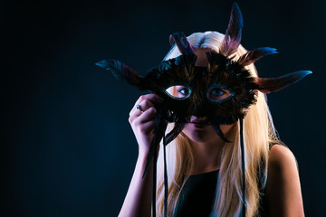 Blond Woman with Mask