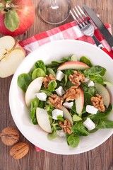 autumn salad with apple, cheese and walnut