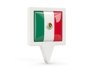 Square flag icon of mexico