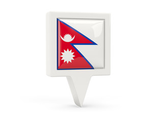 Square flag icon of nepal