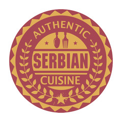 Abstract stamp or label with the text Authentic Serbian Cuisine
