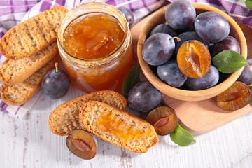 plum jam and bread