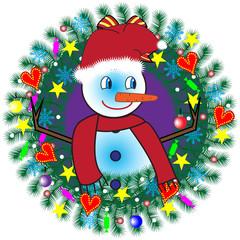 Christmas wreath with snowman