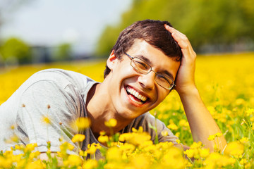 Laughing guy outdoors