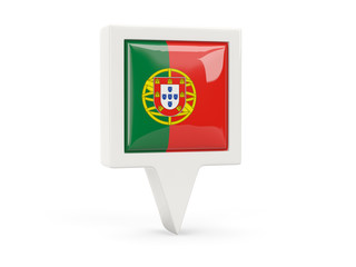 Square flag icon of portugal