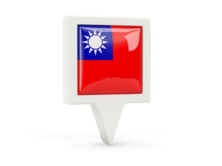 Square flag icon of republic of china