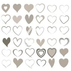 36 verschiedene Herzen in beige