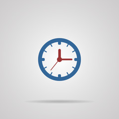 time, clock icon with shadow