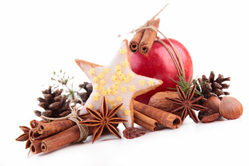 anise, cinnamon and christmas decoration