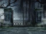 Cmentarna brama ze starymi drzewami - 69919296