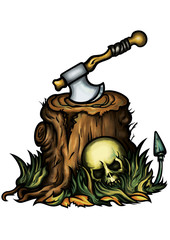 Halloween emblem with a stump an axe and a skull