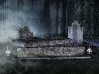 Stary otwarty grób z lampionami w lesie