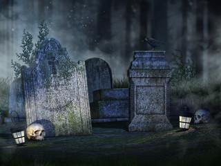 Nabrobki w lesie, czaszki i lampiony