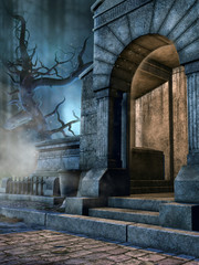 Wejście do starej cmentarnej krypty