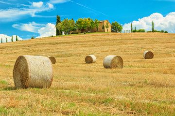 Tuscany landscape,hay bales on the hill,near,Italy