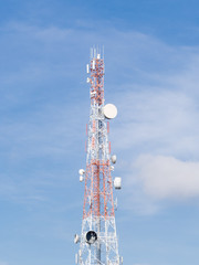 Repeater stations or Telecommunications tower in a day of clear