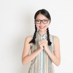 Asian Chinese girl greeting