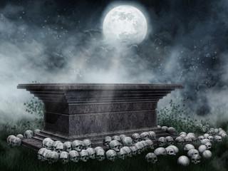 Sarkofag z czaszkami na tle pełni księżyca