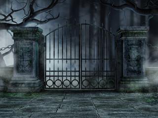 Cmentarna brama ze starymi drzewami