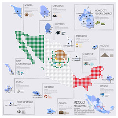Dot And Flag Map Of Mexico Infographic Design
