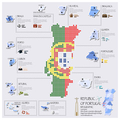 Dot And Flag Map Of Portugal Infographic Design