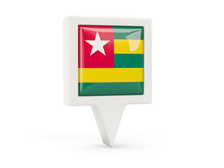 Square flag icon of togo
