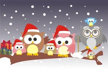 familia buho Navidad
