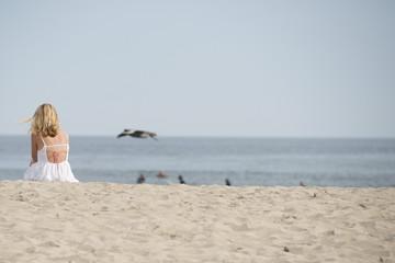 woman relaxing in malibu beach