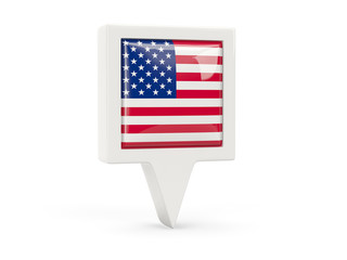 Square flag icon of united states of america